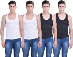 Dollar Bi gboss Multicolor Plain Pack of 4 Vest for Men