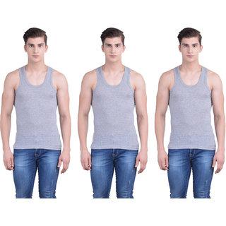 Dollar Bigboss Gray Plain Pack of 3 Vest for Men