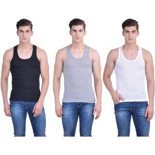 Dollar Bigboss Multicolor Plain Pack of 3 Vest for Men