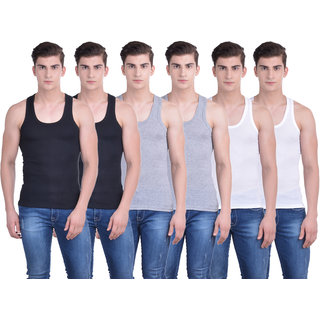 Dollar Bigboss Multicolor Plain Pack of 6 Vest for Men