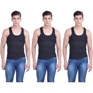 Dollar Bigboss Black Plain Pack of 3 Vest for Men
