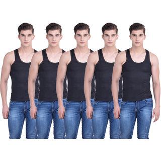 Dollar Bigboss Black Plain Pack of 5 Vest for Men