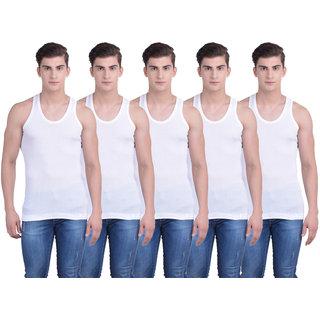 Dollar Bigboss White Plain Pack of 5 Vest for Men