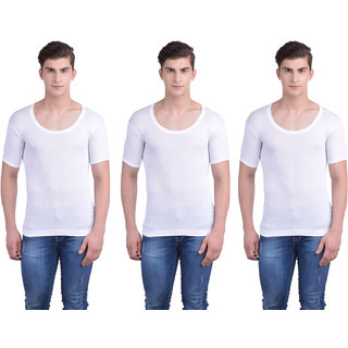 Dollar Bigboss White Plain Pack of 3 Vest for Men