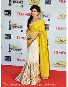 none Yellow Cotton Self Design Saree With Blouse