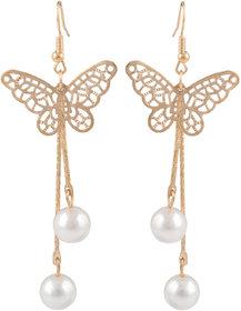 Butterfly Shape Long Pearl Dangle Earrings