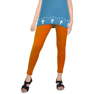 Women's Solid Orange 'Cotton Leggings