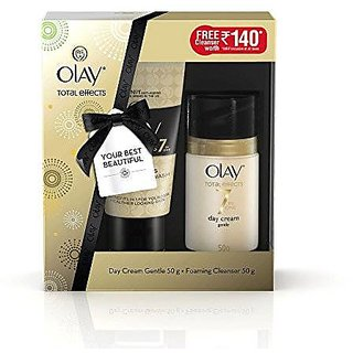 Olay Total Effects Day Cream Gentle (50g) - FREE Olay Foaming Cleanser 50g