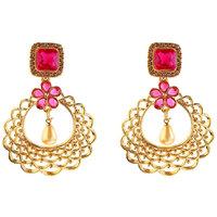 Kriaa by JewelMaze Zinc Alloy Gold Plated Brown  Pink Austrian Stone Dangle Earrings-AAA1063