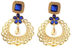 Kriaa by JewelMaze Zinc Alloy Gold Plated Blue  Brown Austrian Stone Dangle Earrings-AAA1064