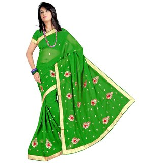 Green Self Design Georgette Saree With Blouse