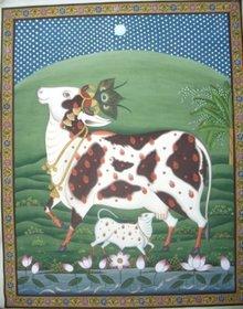 Pichwai Kaamdhenu Wall Painting Size 30X36 Inches
