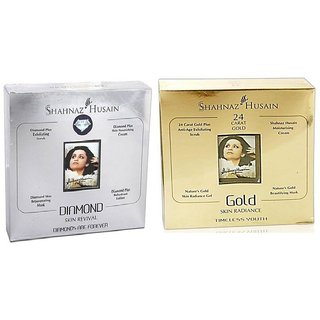 Shahnaz Husain Gold  Diamond Skin Radiance Timeless Youth facial kt 40gm. (combo)
