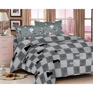 Welhouse India grey Color Chess print Bedsheet With 2 Pillow Cover