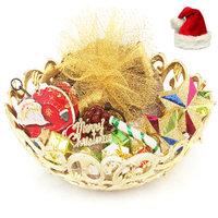 Christmas Golden Basket Plum Cake Hamper with Santa Key Stand, Decoaration Set and Star Dcor Set.