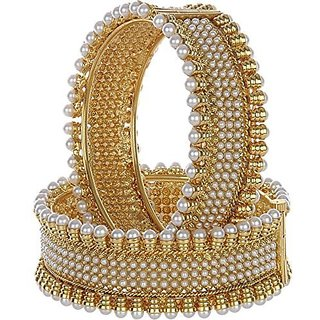 Meenaz Bangles For Women And Girls Gold Plated Cz In American Diamond Bangles Sets BA118