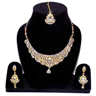 Jewels Kafe Stylish Gold Plated AD Necklace Set For Women