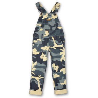 CHERRY CRUMBLE Cotton Twill Grey Olive Camouflage Dungaree For Girl