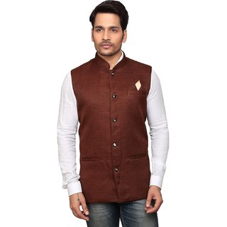 Trustedsnap Nehru Jacket For Men ( Brown )
