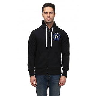 Be-Beu Black Cotton Hooded Sweatshirt