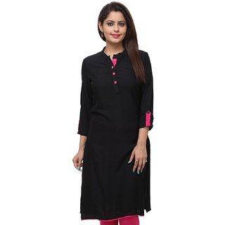 Kurtis for Women (Black,Cotton,Length-42)