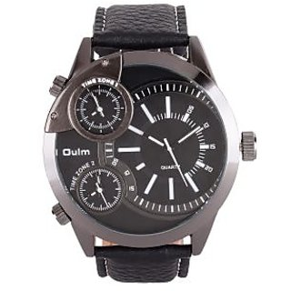 Oulm Multifunction Black Dial Men's Watch