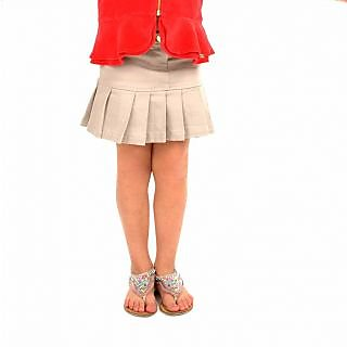 CHERRY CRUMBLE Cotton Twill Pleated Beige Skirt For Girl