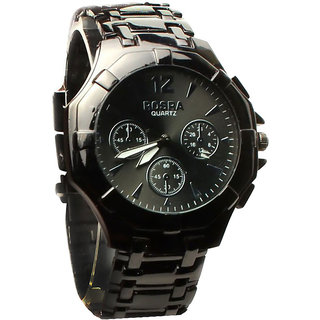 TRUE CHOICE SUPER FAST SELLING Rosra Round Dial Black Metal Strap Mens Watch