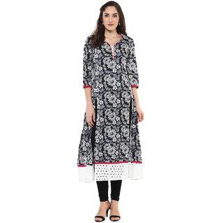 Jaipur Kurti Black Printed V-Neck 3/4th Sleeve Cotton Kurta