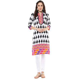Jaipur Kurti White Printed Mandarin Collar 3/4th Sleeve Cotton Kurta