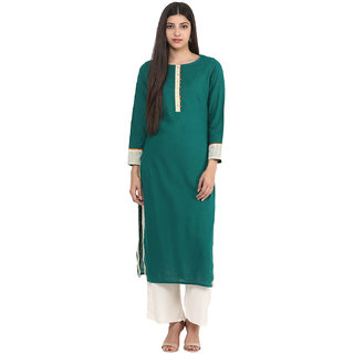Jaipur Kurti Green Solid Round Neck Full Sleeve Cotton Kurta