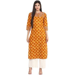 Jaipur Kurti Mustard Printed Round Neck 3/4th Sleeve Cotton Kurta