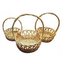 Viso White Wicker Baskets With Handle Set Of 3