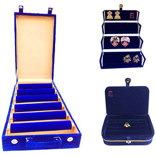 Atorakushon 6 roll rod wodden velvet bangles box Jewelry Storage Box With Ring Box and Earrings folder