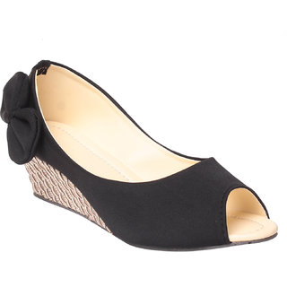 MSC Women Black Slip on Wedges