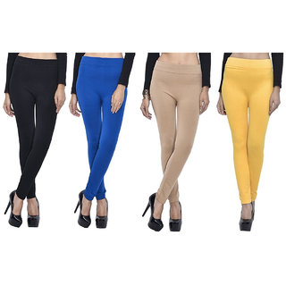 Pack of 4 Woollen Leggings - Black, Blue, Yellow n Beige