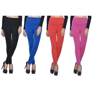 Pack of 4 Woollen Leggings - Black, Blue, Red n Magenta