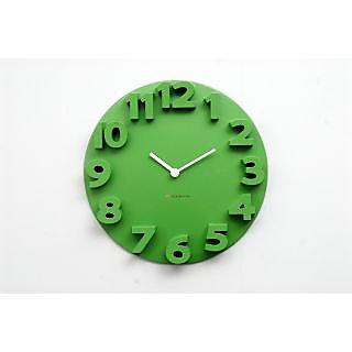 Raised Numbers 3D Clock - Green