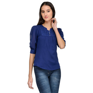 Tunic Nation Women's Solid Blue Color Top