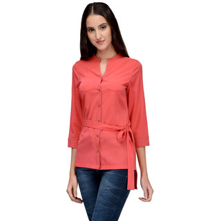 Tunic Nation Women's Solid Coral Color Top