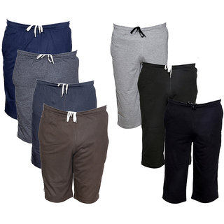 IndiWeaves Mens 3 Cotton 3/4 Capri and 4 Shorts/Barmuda Combo Offer (Pack of 7)_Multiple_Size:-32