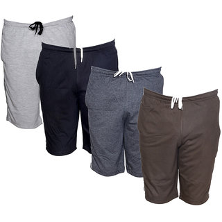 IndiWeaves Mens Regular Fit Casual Shorts (Pack of-4)_Grey::Black::Grey::Brown_Size-32