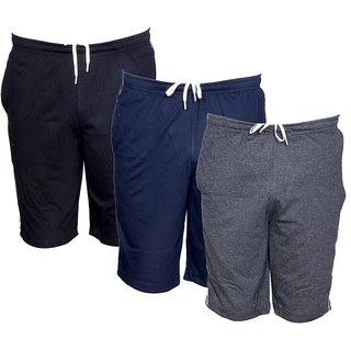 IndiWeaves Mens Regular Fit Casual Shorts (Pack of-3)_Black::Blue::Grey_Size-32