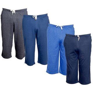 IndiWeaves Men's Regular Fit Casual Capri (Pack of-4)_Grey::Blue::Blue::Blue _Size-32