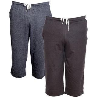 IndiWeaves Men's Regular Fit Casual Capri (Pack of-2)_Grey::Brown _Size-32