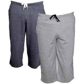 IndiWeaves Men's Regular Fit Casual Capri (Pack of-2)_Grey::Grey _Size-32