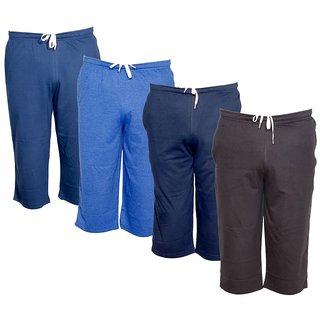 IndiWeaves Men's Regular Fit Casual Capri (Pack of-4)_Blue::Blue::Blue::Brown _Size-32