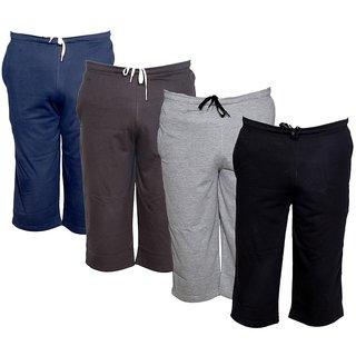 IndiWeaves Men's Regular Fit Casual Capri (Pack of-4)_Blue::Brown::Grey::Black _Size-32