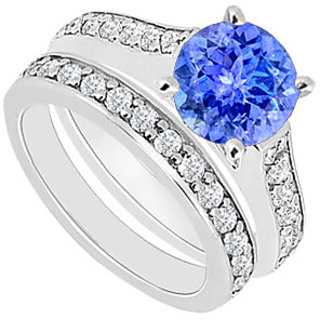 14K White Tanzanite & Diamond Engagement Ring 1.10 CT TGW