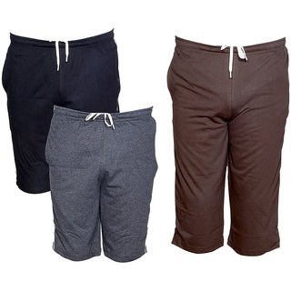 IndiWeaves Mens 1 Cotton 3/4 Capri and 2 Shorts/Barmuda Combo Offer (Pack of 3)_Multiple_Size:-32